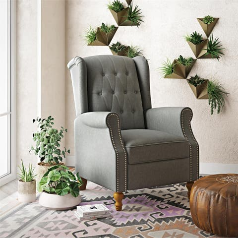 Novogratz Harmony Pushback Recliner with Nail Heads