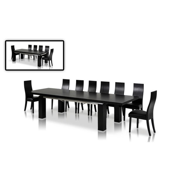 Modrest Maxi Modern Dark Oak Black Extendable Dining Table
