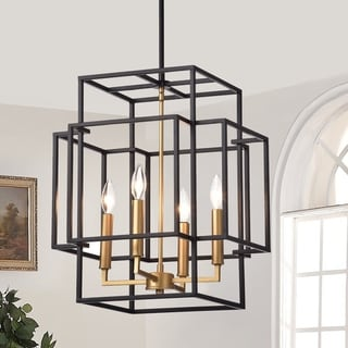 Link to Hartwell 15-inch 4-Light Pendant Lamp Black and Gold Finish Similar Items in Chandeliers