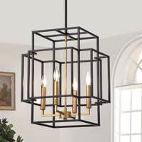 Deals on Hartwell 15-inch 4-Light Pendant Lamp Black and Gold Finish