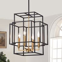 Hartwell 15-inch 4-Light Pendant Lamp Black and Gold Finish