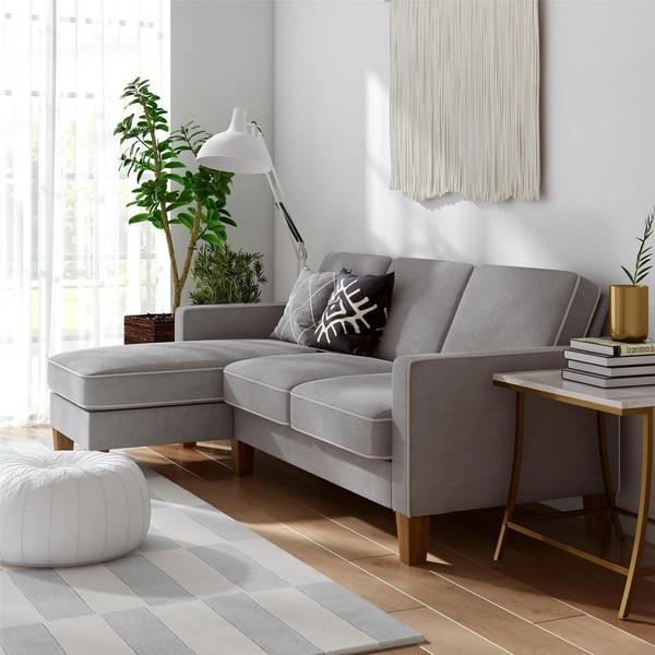 Shop Novogratz Bowen Sectional Sofa With Contrast Welting