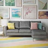 Shop Porter Monza Grey Chenille Sectional Sofa With