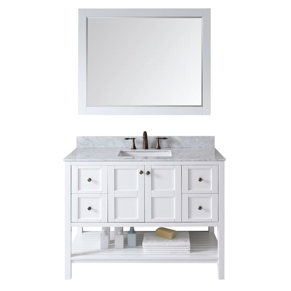 """Winterfell 48"""" Solid Wood Single Vanity White Marble Top Mirror Faucet"""