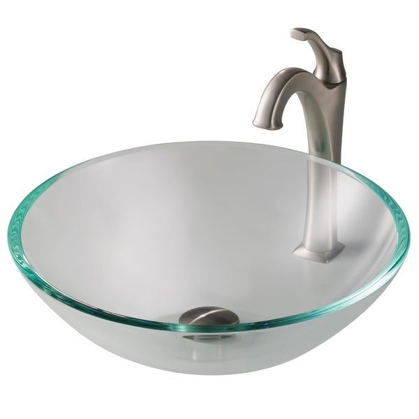 Kraus 4-in-1 Bathroom Set C-GV-100-12mm-1200 Glass Vessel Sink, Arlo 1-Hole Faucet, Pop Up Drain, Mount Ring, 4 finishes