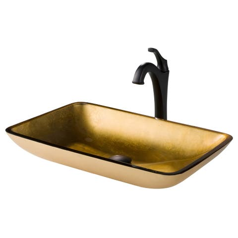 Kraus 3-in-1 Bathroom Set C-GVR-210-RE-1200 Gold Glass Vessel Sink, Arlo 1-Hole 1-Handle Faucet, Pop Up Drain, 4 finish