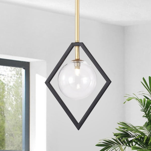 Fayres 10-inch 1-Light Black and Gold Finish Pendant Lamp (bulbs included). Opens flyout.