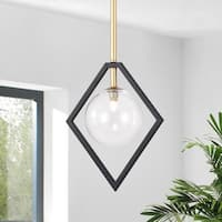 Fayres 10-inch 1-Light Black and Gold Finish Pendant Lamp (bulbs included)