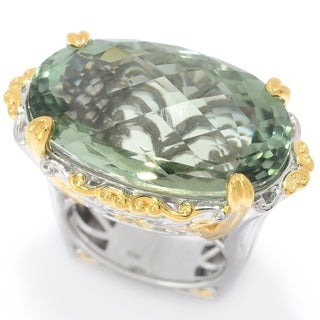 Michael Valitutti Palladium Silver Prasiolite East-West Ring