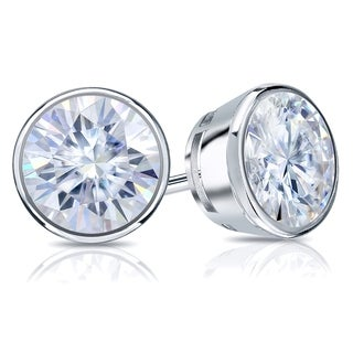 Auriya Round Moissanite Stud Earrings 2ct DEW Bezel Set Platinum 6 5 Mm Push Backs