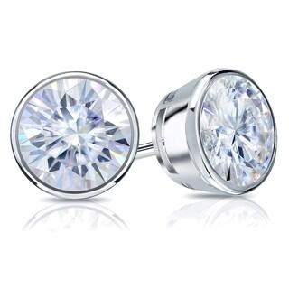 Auriya Round Moissanite Stud Earrings 2ct DEW Bezel Set Platinum 6 5 Mm Screw Backs