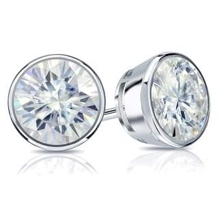 Auriya Round Moissanite Stud Earrings 2ct DEW Bezel Set 14k Gold 6 5 Mm Screw Backs