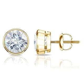Auriya Round Moissanite Stud Earrings 1ct DEW Bezel Set 14k Gold 5 Mm Screw Backs