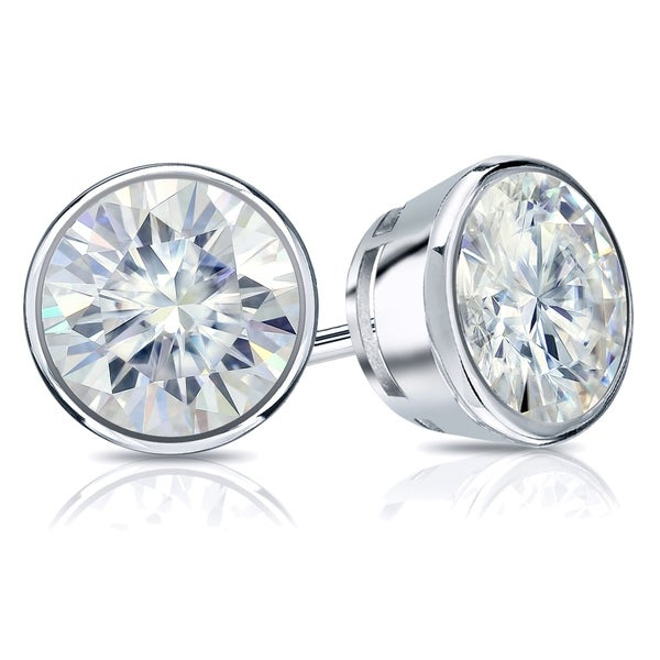 36949988f Auriya Round 3 carat TGW Solitaire Bezel Set Moissanite Stud Earrings 14k  Gold