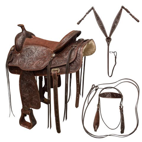 """Buffalo Outdoors 16 inch Western Saddle - brown - 16"""""""