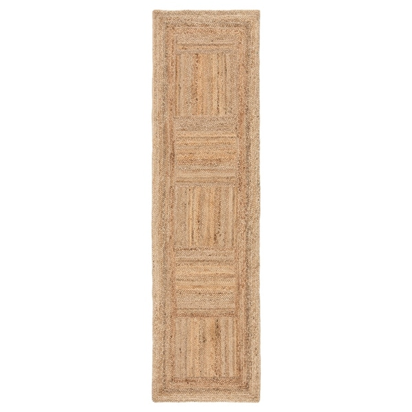 "Patchwork Natural Geometric Tan Runner Rug (2'6""X9') - 2'6"" x 9' Runner"
