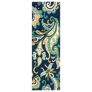 "Elsita Indoor/ Outdoor Floral Blue/ Green Runner Rug - 2'6"" x 8' Runner"