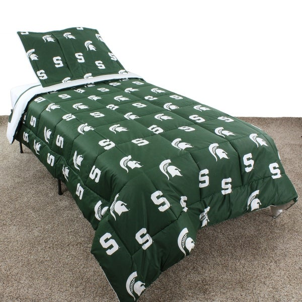 College Covers Michigan State Spartans Printed Solid Sheet Set Twin