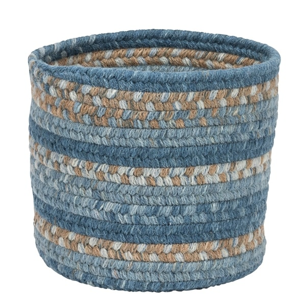 """Rustica Small-Space Wool Basket - Moaco Blue 10""""x10""""x8"""""""
