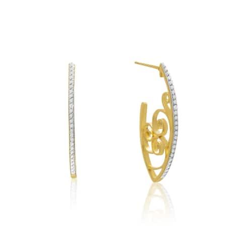 Delicate Diamond Swirl Hoop Earrings Gold Overlay
