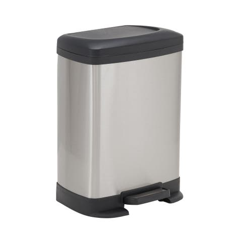 Design Trend 8L Saxony Rectangular Stainless Steel Step Trash Can Bin with Black Lid