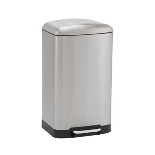 Design Trend 40L Crescent Rectangular Stainless Steel Step Trash Can Bin with Black Band