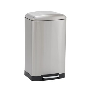 40L Crescent Rectangular Stainless Steel Trash Can Bin with Black Band