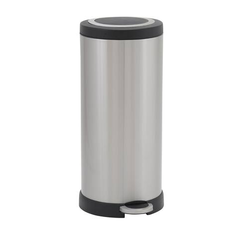 Design Trend 30L Windsor Round Stainless Steel Step Trash Can Bin with Black Lid