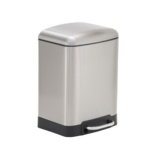 Design Trend 6L Crescent Rectangular Stainless Steel Step Trash Can Bin with Black Band