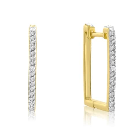 Trendy Diamond Hoop Earrings in Gold Overlay