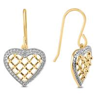 Diamond Accented Heart Shaped Earrings In Gold Plated .925 Sterling Silver