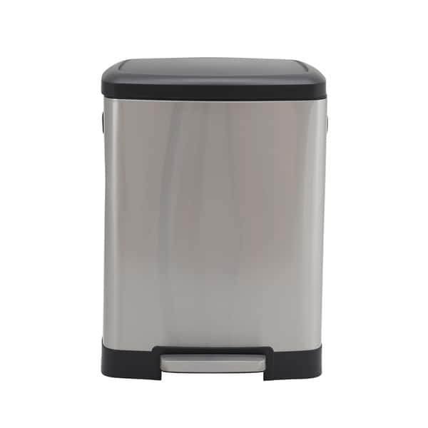 Design Trend 50l Summit Rectangular Stainless Steel Step Trash Can Bin With Black Lid On Sale Overstock 24122693