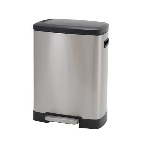 Design Trend 50L Summit Rectangular Stainless Steel Step Trash Can Bin with Black Lid