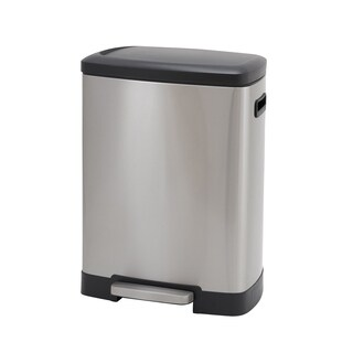 50L Summit Rectangular Stainless Steel Trash Can Bin with Black Lid