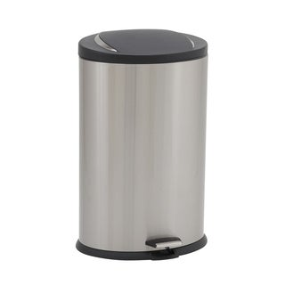 40L Hawthorn Oval Stainless Steel Trash Can Bin with Black Lid