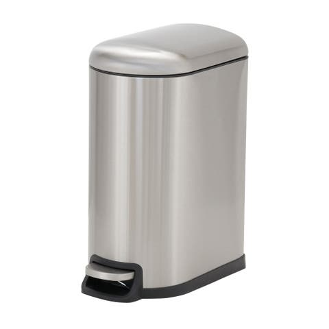 Design Trend 10L Tuscany Narrow Stainless Steel Step Trash Can Bin