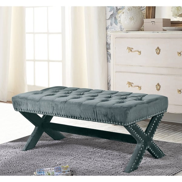Collins Velvet Button Tufted Bench with Silver Nailhead Trim. Opens flyout.