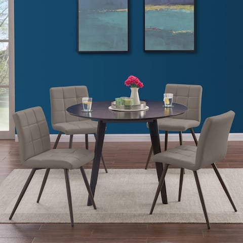 Handy Living Edgewater 5-piece Round Table and Armless Taupe PU Dining Chairs