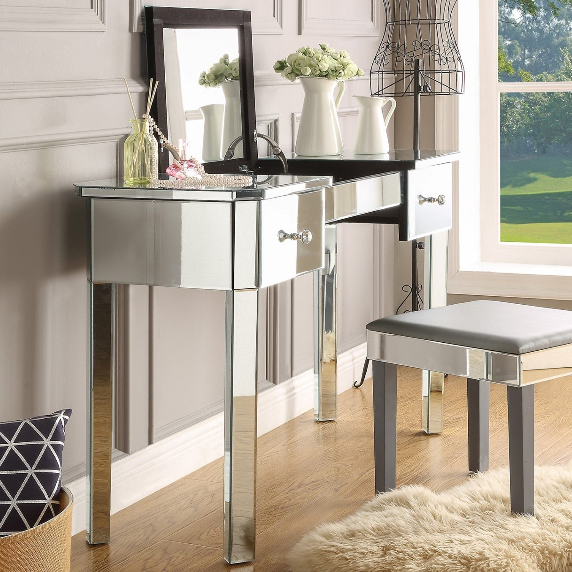 addison mirrored makeup vanity table with 2 drawers (or 4 drawers)