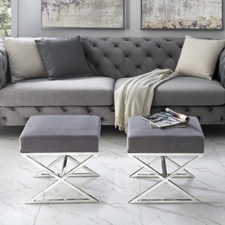 Link to Della Velvet Ottoman with Gold or Chrome X-Legs Similar Items in Living Room Furniture