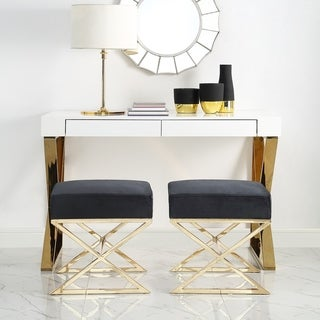 Della Velvet Ottoman with Gold or Chrome X-Legs