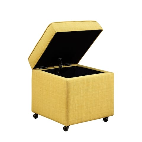 Collins Storage Ottoman Contemporary Linen or Velvet with Casters