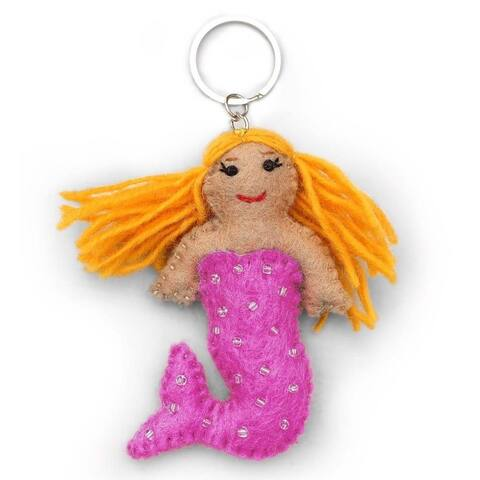 Handmade Pink Felt Mermaid Key Chain (Nepal)