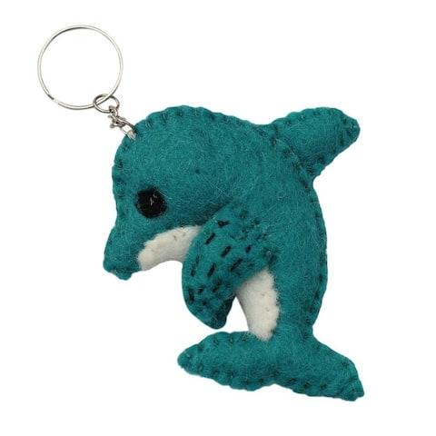 Handmade Felt Dolphin Key Chain (Nepal)