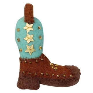 Link to Handmade Cowgirl Boot Felt Ornament (Nepal) Similar Items in Christmas Decorations