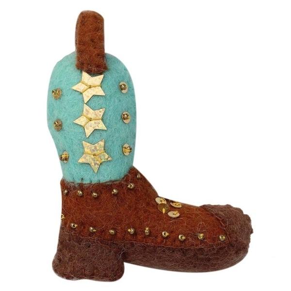 Handmade Cowgirl Boot Felt Ornament (Nepal). Opens flyout.