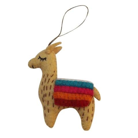 Handmade Tan Felt Llama Ornament (Nepal)