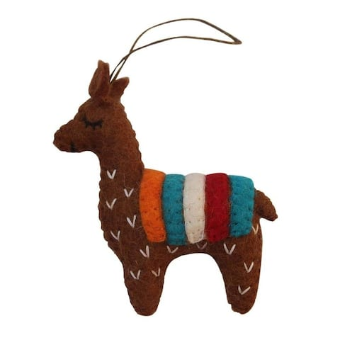 Handmade Brown Felt Llama Ornament (Nepal)