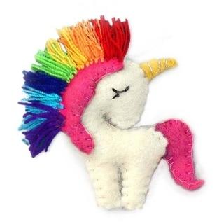 Link to Handmade Unicorn Felt Ornament with Rainbow Colors (Nepal) Similar Items in Christmas Decorations