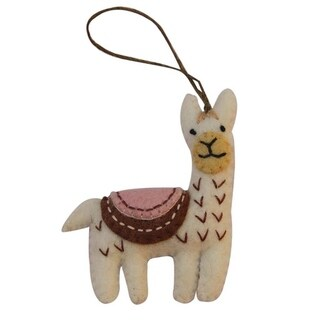 Link to Handmade White Felt Llama Felt Ornament (Nepal) Similar Items in Christmas Decorations